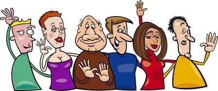 caricaturas de personas: Ilustraci�n de dibujos animados del grupo de abrazar a la gente feliz