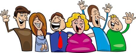 thin man: Cartoon illustration of hugging happy people group Illustration