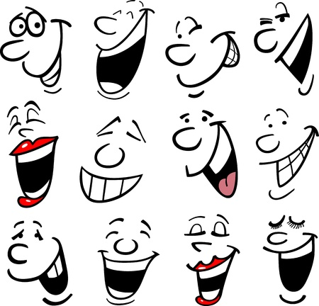 smiling faces: Cartoon faces and emotions for humor or comics design Illustration