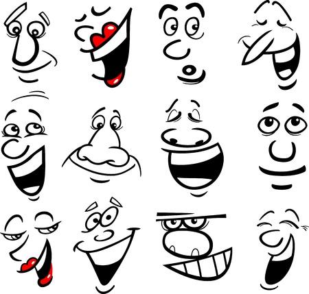 kifejező: Cartoon arcok és érzelmek a humor vagy képregények tervezés Illusztráció