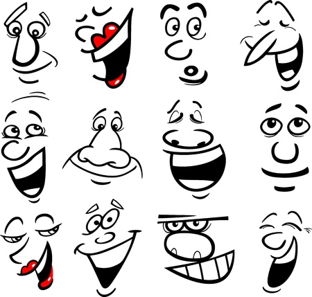 expressive: Cartoon faces and emotions for humor or comics design Illustration