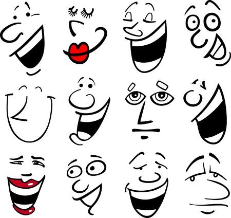 caras de emociones: Caras de dibujos animados y las emociones para el humor o los c�mics de dise�o Vectores