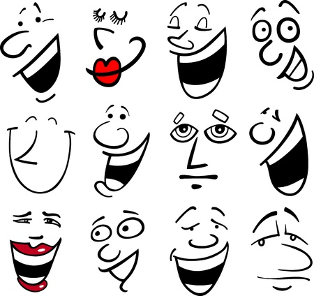 sneer: Cartoon faces and emotions for humor or comics design Illustration