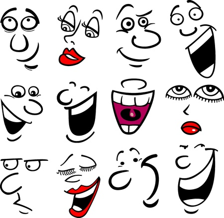 Cartoon faces and emotions for humor or comics design Çizim