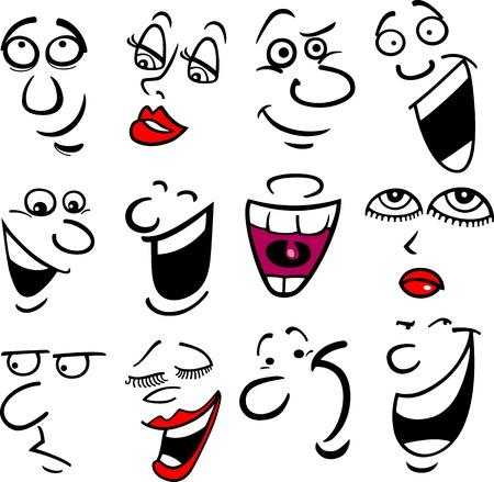 Cartoon gezichten en emoties voor humor of comics ontwerp Stock Illustratie