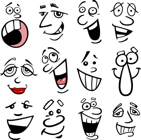 gestos de la cara: Caras de dibujos animados y las emociones para el humor o el diseño de los cómics