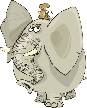 cartoon illustration of funny elephant with mouse on his head Illustration