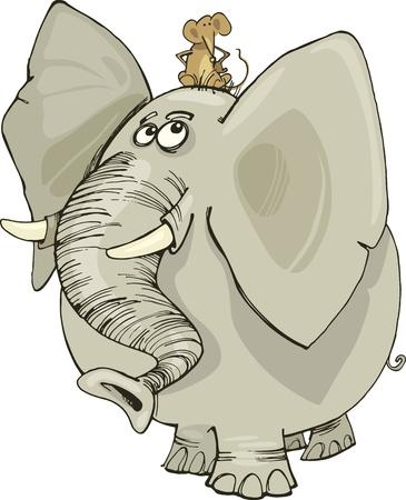 elefante cartoon: ilustraci�n de dibujos animados de elefantes divertida con el rat�n en la cabeza Vectores
