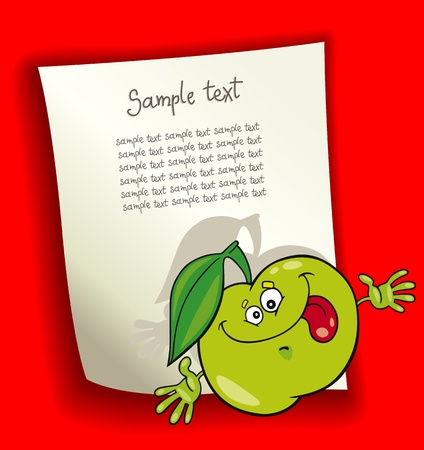 cartoon design illustration with blank page and funny green apple Vector