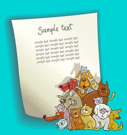 animals and pets: cartoon design illustration with blank page and group of cats and dogs