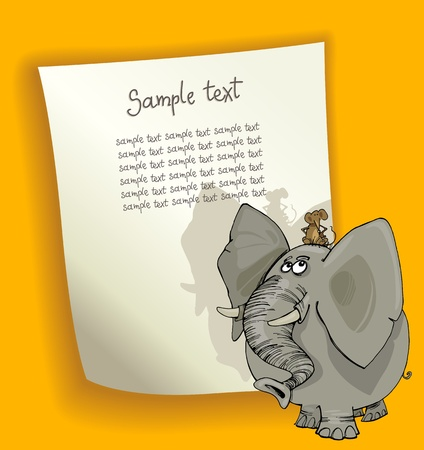cartoon design illustration with blank page and mouse on the elephant Vector