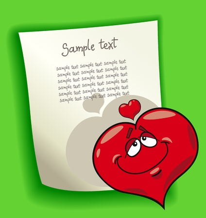 cartoon design illustration with blank page and funny heart in love Vector