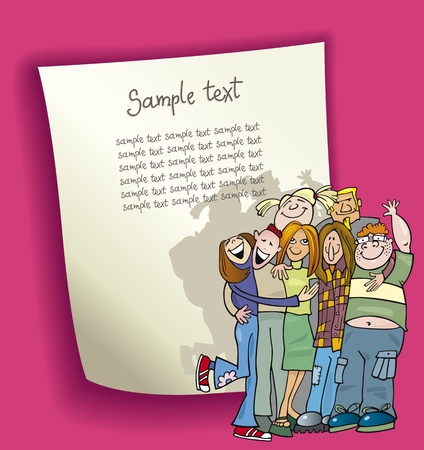 cartoon design illustration with blank page and funny teenagers group Vector