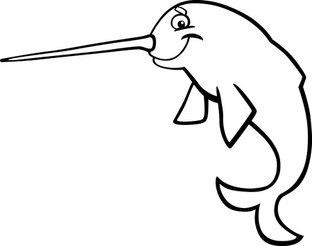 cartoon illustration of narwhal for coloring book Vector