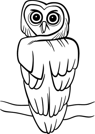colorless: cartoon illustration of owl on the tree for coloring book