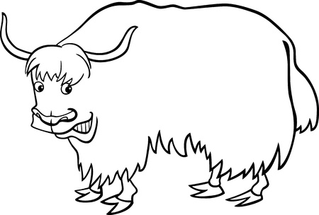 yak: cartoon illustration of asian yak for coloring book Illustration