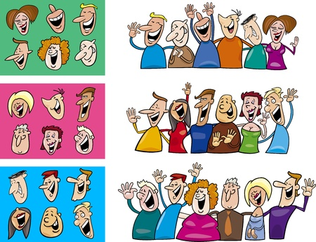 happy young people: cartoon illustration of happy people big set Illustration