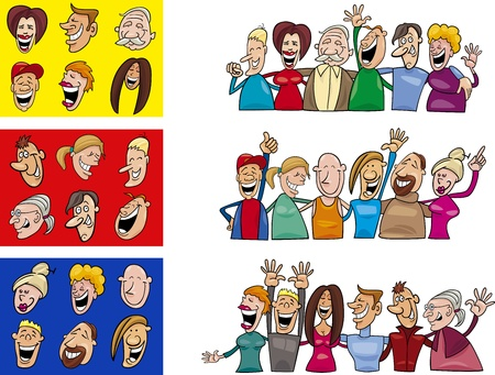 karikatuur: cartoon illustratie van gelukkige mensen grote set