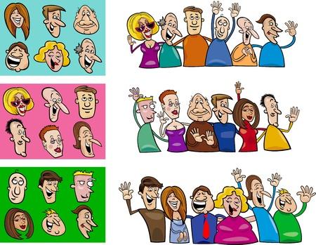 cartoon mensen: cartoon illustratie van gelukkige mensen grote set