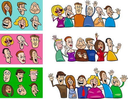 old people: illustration de bande dessin�e de gens heureux grand ensemble Illustration