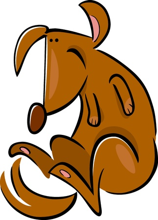 cartoon doodle illustration of happy brown dog Vector