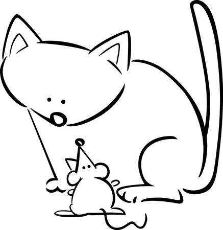 cartoon doodle illustration of kitten and mouse for coloring book Vector
