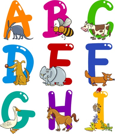 typeset: Cartoon Colorful Alphabet Set with Funny Animals
