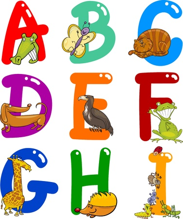 Cartoon Colorful Alphabet Set with Funny Animals