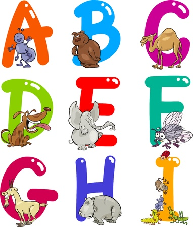 Cartoon Colorful Alphabet Set with Funny Animals Stock Vector - 13582210
