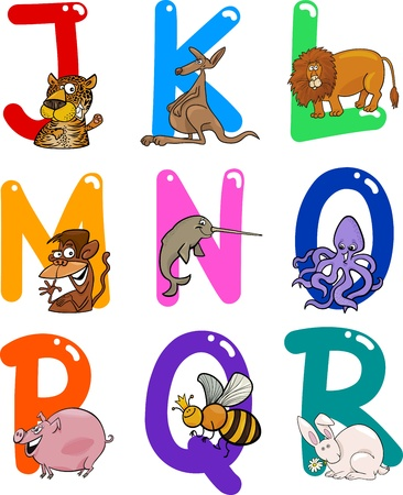 jaguar: Cartoon Colorful Alphabet Set with Funny Animals