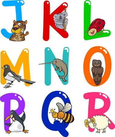 urraca: Cartoon colorido alfabeto conjunto con Funny Animals