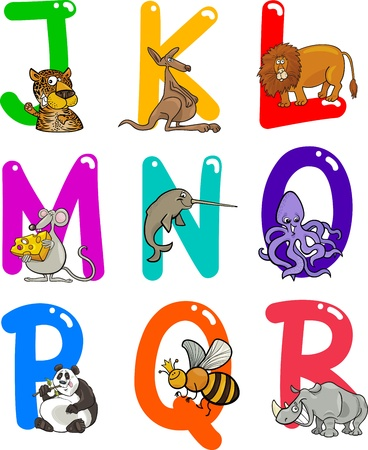 nashorn: Cartoon Bunte Alphabet mit Funny Animals Set Illustration