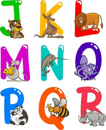 rhinoceros: Cartoon Colorful Alphabet Set with Funny Animals