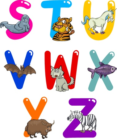 Cartoon Colorful Alphabet Set with Funny Animals Stock Vector - 13582201