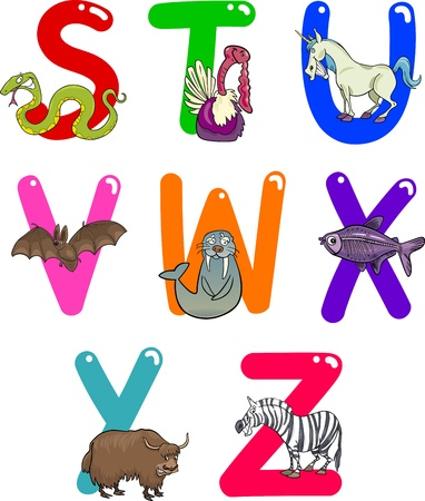 Cartoon Colorful Alphabet Set with Funny Animals Vector
