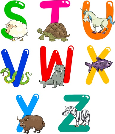 fish type: Cartoon Colorful Alphabet Set with Funny Animals