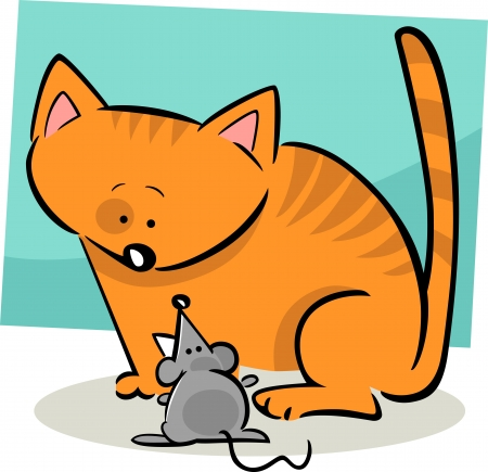 cartoon doodle illustration of kitten and mouse Vector
