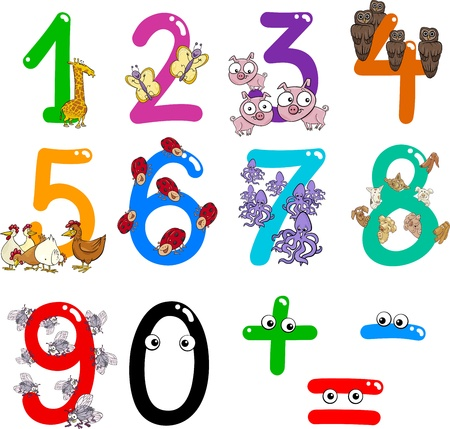sign equals: cartoon illustration of numbers from zero to nine with animals