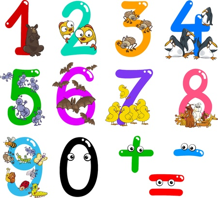 minus sign: cartoon illustration of numbers from zero to nine with animals