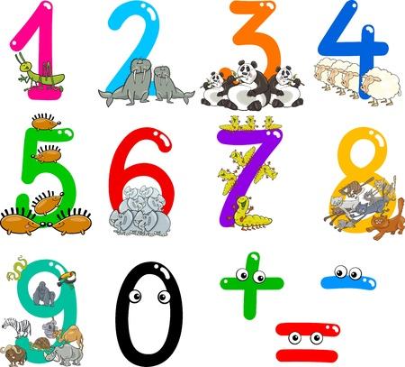 rekensommen: beeldverhaalillustratie van nummers van nul tot negen met dieren