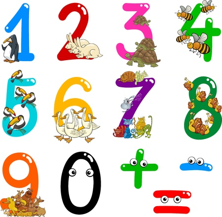 plus minus: cartoon illustration of numbers from zero to nine with animals