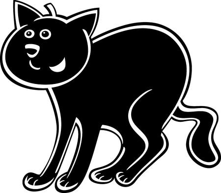 moggy: cartoon illustration of funny black cat or kitten