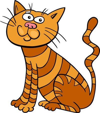 meow: cartoon illustration of funny red sitting cat