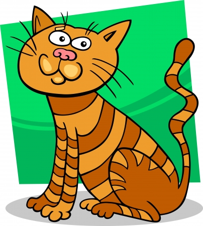 moggy: cartoon illustration of funny red sitting cat