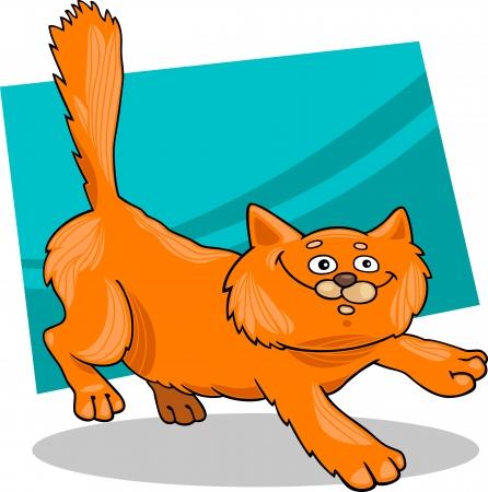mouser: cartoon illustration of running red fluffy cat