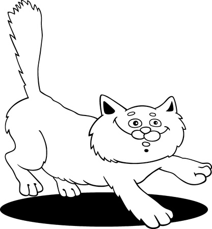 moggy: cartoon illustration of running fluffy cat for coloring book
