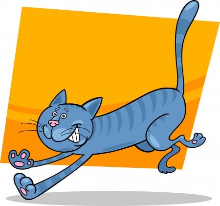cartoon illustration of running blue tabby cat Stock Vector - 13793925