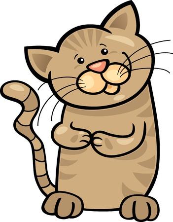 moggy: cartoon illustration of cute brown tabby kitten