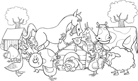 cartoon illustration of farm animals group for coloring book Vector