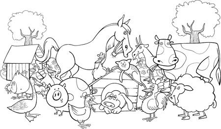 animales de granja: ilustraci�n de dibujos animados de la granja de los animales del grupo de libro para colorear